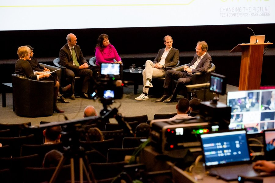 Kate moderates the Make Europe Prime Again? panlel on VoD services with (left to right: Soumya Sriraman, President of Britbox; Audrius Perkauskas, Deputy Head of DG Connect at the European Commission; Professor Annabell Gawer, University of Surrey; Alexandar Vassilev, VEO 7TV; and Robert Amlung, Head of Digital Strategy ZDF.