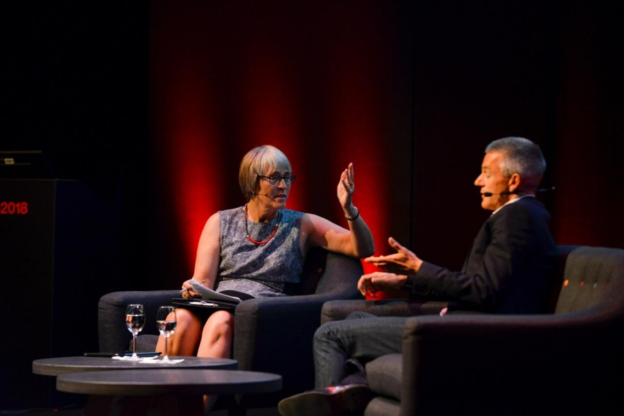 Kate Bulkley with Tim Davie, CEO, BBC Studios. (picture by Chris Taylor Photography and courtesy of IBC