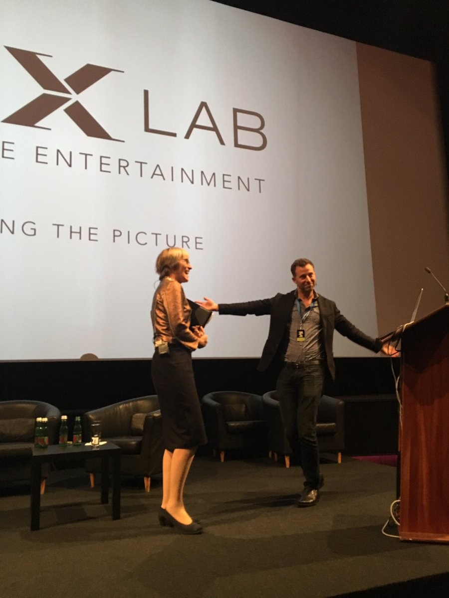 Kate with Michael Koperwas of George Lucas's Industrial Light and Magic (ILM) X Lab at the Changing the Picture conference where #Tech & #Storytelling intertwine in Berlin