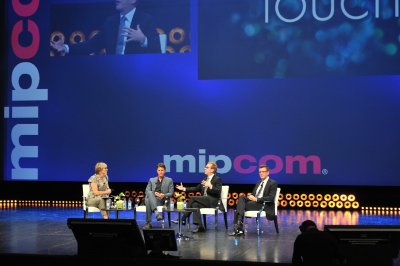 Kate moderating Keifer Sutherland, Tim Kring and Kevin Reilly at MipTV
