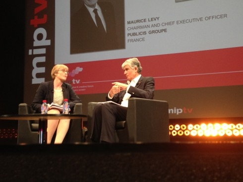 Kate interviews Maurice Levy CEO Publicis at MIPTV April 8 2014