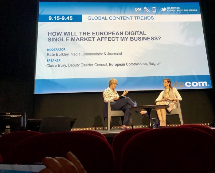 Kate interviews Claire Bury of the European Commission on What the Digital Single Market Means for the TV Business on October 18th 2017 at Mipcom