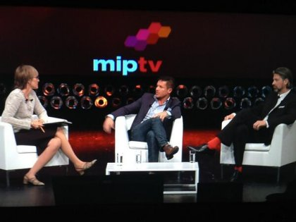 kate with Felix Baumgartner, skydiver and Alexander Koppel of Red Bull Media House at MipTV 2013