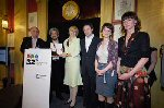 Alistair Beaton, wtiter of Best Single Drama A Very Social Secretary alongside executive prroducer David Aukin, Kate Bulkley, producer Hal Vogel and actors Doon Mackichan and Victoria Hamilton
