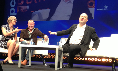 Harvey Weinstein and Michael Flatley at Mipcom, with interviewer Kate Bulkley. Photo: Stuart Dredge